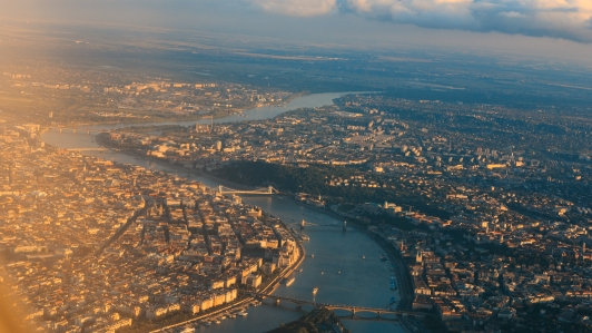Aerial view of the Danube River