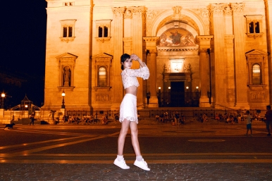 In front of St. Stephen's Basilica at night