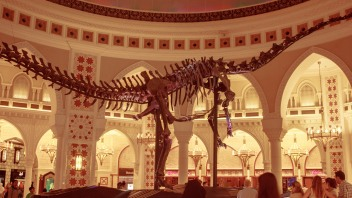 dinosaur skeleton in the middle of Dubai Mall
